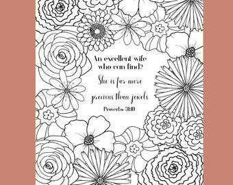 Bible Verse Coloring Page, Proverbs 31 Coloring Page, Scripture Coloring Page, Flower Coloring Page, Adult Coloring Page
