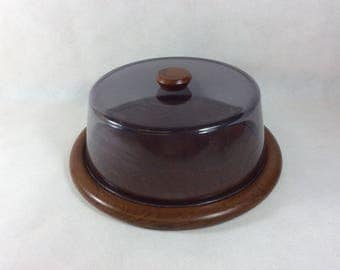 Vintage cheese board dish mid century covered plate food server smoked dome cover lid Danish influence cakes pastries cup cakes 0150