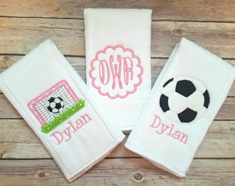 Set of 3 burp cloths - Personalized girls burp cloths - Soccer burp cloth - Monogram burp cloth - Newborn