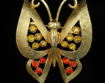 Butterfly Pin Brooch Rhinestones by JJ
