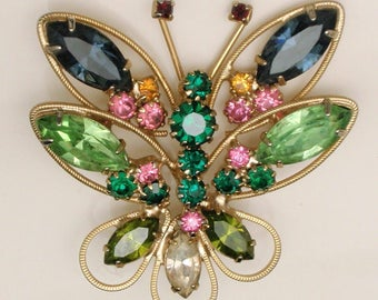 Butterfly Pin Brooch Multi-Colored Rhinestones