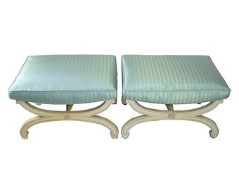 1950s Cerulean X Stools, Pair - Hollywood Regency
