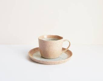 Japanese Pottery Tea Cup Set | handmade ceramic cup | beige pink stoneware set
