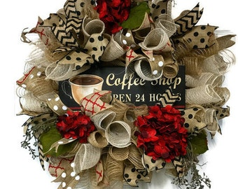 Burlap Hydrangea Wreath, Every day Wreath, Red Hydrangea Wall Wreath, Mothers Day Gift