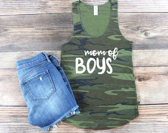 Mom of Boys Tank / Mom of Boys Shirt / Raising My Tribe Shirt / Mom Life Shirt / Mama Bear Tank / Camo Mom Tank/