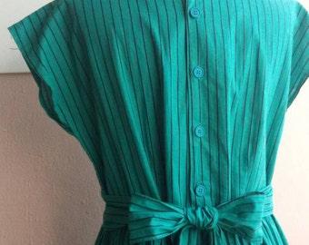 70s Green Stripe Dress - Cotton Day Dress - Mid Calf Length - Small - Medium