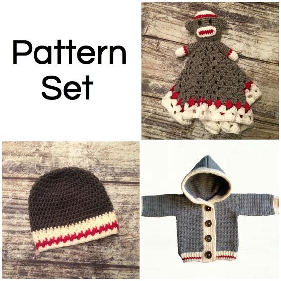 Work Sock Sweater Knitting Pattern : Crochet pattern set monkey lovey blanket work sock hat