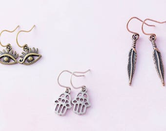 Boho Evil Eye Hamsa Hand Feather Charm Earring Set, Spiritual Jewelry, Trendy Jewelry