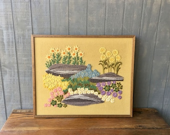 Vintage Crewel Stitched  Wall Decor, Framed Crewel Stitched Floral Picture
