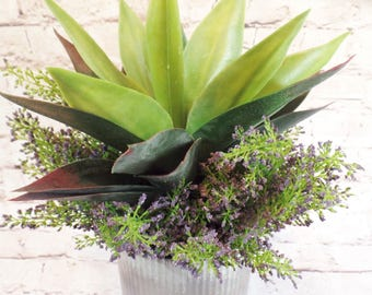 "Artifcial Agave Succulent Plant and Heather ""Planted"" in a Zinc Metal Ridged Pot in Dark Silver Gray"