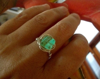 Glow in the dark ring, green glow ring, sterling silver, 18k gold, fun jewelry for girls, gift under 20, handmade gift for her, Easter gift