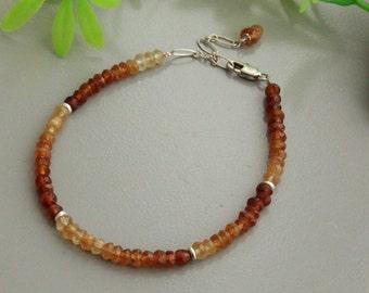 Hessonite garnet bracelet , silver bracelet, sterling bracelet, garnet hessonite, hessonite silver, hessonite bracelet, silver 925