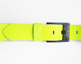 Diesel Fluo Leather belt, black buckle, neon yellow, vibrant energy style, diesel jeans, vintage collection