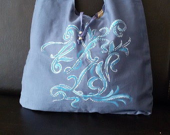 Messenger tote blue bag hand painted reversible
