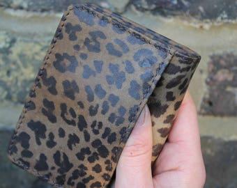 Francesca leopardprint leather mini wallet