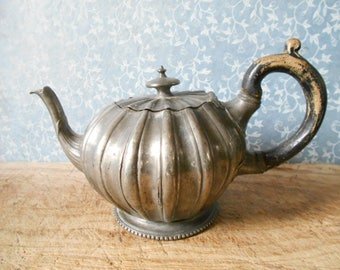 English antique teapot, pewter pumpkin teapot, 1800's English tea pot. Victorian, cottage chic decor.