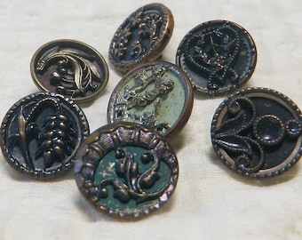 7 Delicate Victorian Buttons Pierced, Tinted Floral Designs