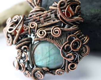 Ulu Knife Wire Wrapped Pendant - Heady Pendant - Festival Jewelry - Hippy Jewelry - Made in Alaska - Labradorite - Red Agate
