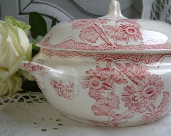 Antique french ironstone red transferware small tureen. French transferware. Jeanne d'Arc living. Gustavian home. french shabby chic