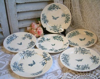 Set of 6 Antique french teal transferware dinner plates. Teal transferware. Jasmine. Butterflies. Blue green transferware. Tea plates