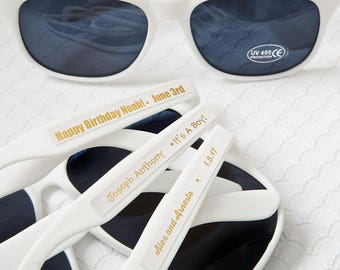 40+ White Sunglasses With Gold Metallic Stickers - Wedding Sunglasses - Wedding Favors - Party Favor Sunglasses (6777SM)