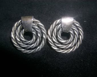 1950's Napier Silver Twisted Rope Earrings Concentric Circles Go with many Napier Bracelets Necklaces