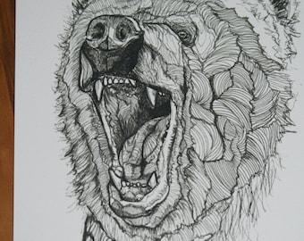 Growling BEAR PRINT: A4 print from an original pen drawing