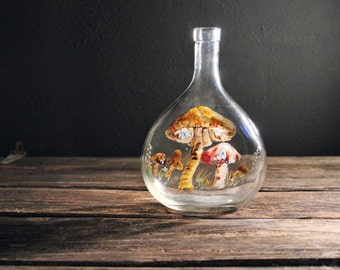 vintage hand painted toadstools on clear glass vessel