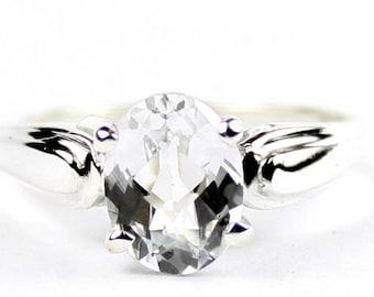Silver Topaz, 925 Sterling Silver Ring, SR058