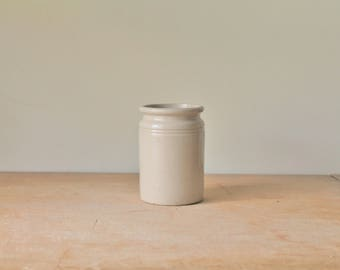 Small Antique Apple Butter or Jam Stoneware Crock - Repurposed Pen, Pencil, Paint Brush Holder / Jar
