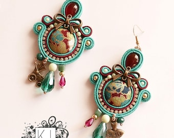 Soutache earrings wiht Japanese fabric buttons handmade in italy by KIMA OOAK