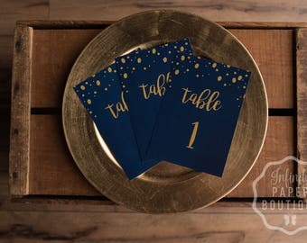 Table Numbers • 5x7 Navy Blue & Gold Table Numbers • For Weddings, Bridal Events, and Dinner Parties • We print or DIY Option