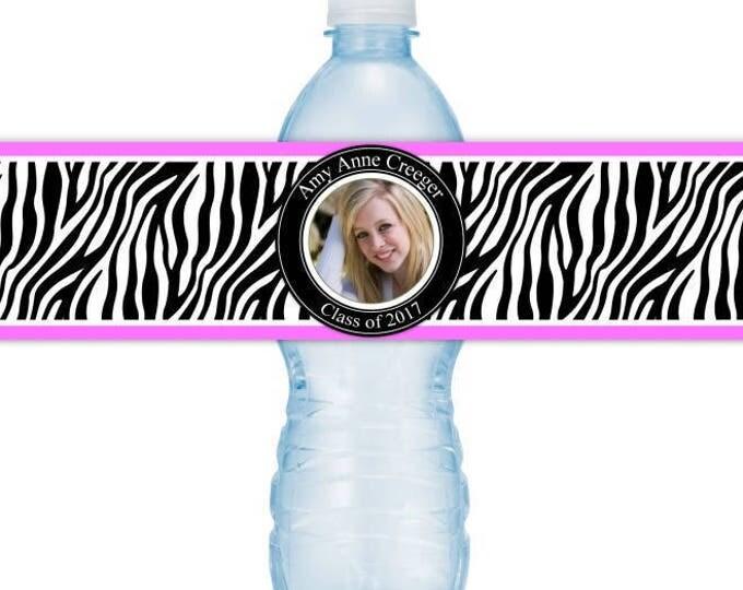 Graduation Photo Water Bottle Labels - CUSTOM Printable Water Bottle Labels, YOU print, you cut, DIY water bottle labels