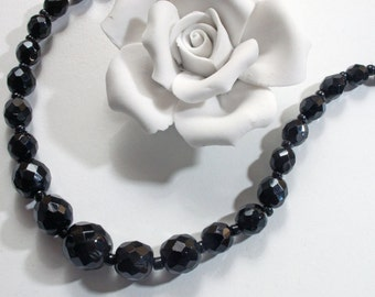 Vintage black glass bead necklace, mourning jewelry,.