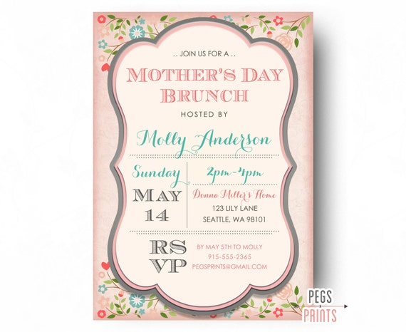 items similar to mothers day brunch invitation printable mothers day invitation mothers day. Black Bedroom Furniture Sets. Home Design Ideas