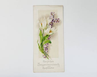 Antique embossed postcard from 1910s - Vintage Postcard with flowers - 1910's Postcard