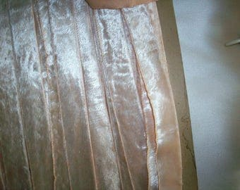 "Vintage Velvet rayon cotton fur-like Ribbon in pink peach 7/8"" corset ribbon Yardage available, Bridal"