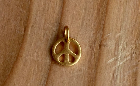 Tiny vermeil peace charm, Add charm to mala or purchase alone. Overstock sale price
