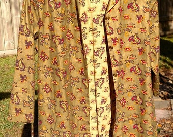 Gold Paisley Nehru Jacket - 1960s Vintage - Small