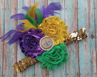 Fluer di Lis Mardi Gras Headband Hair Piece Mardi Gras Hair Clip