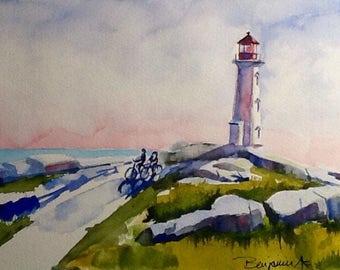 "Original Watercolour Painting, "" Peggy's Cove Light and Bikes "",   Lighthouse art, original work, not a print!"