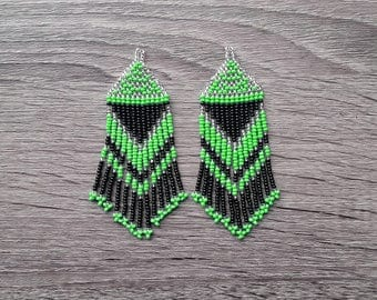 Native  American Earrings  Inspired.  Black Silver Green Earrings. Gift For Her. Long Earrings.  Beadwork.