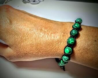 Malachite beads macrame bracelet