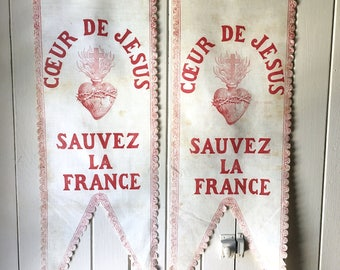 antique French religious banner, Sacred Heart of Jesus ~ circa early 1900s