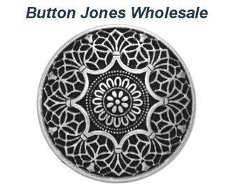 50 pcs. Safi 9/16 inch ( 15 mm ) Metal Buttons Antique Silver Color