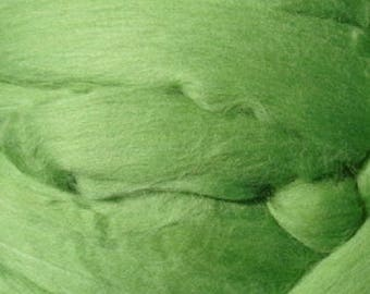 Dyed Merino - Kiwi - Solid color commercial dyed - combed top roving spinning felting fiber fibre arts  - bright soft green