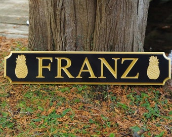 Custom Carved Quarterboard sign with pineapple image - Add your name