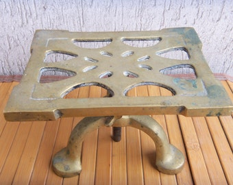 Massive Cast Iron Adjustable  Stand Brass Finish, Footed Pedestal Extension Tripod, Nice Vintage Home Decor, Signed