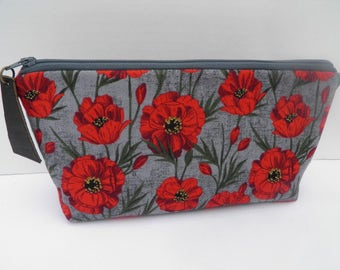 Essential oil zipper pouch, young living, oil organizer, oil travel bag,  red poppies on charcoal gray