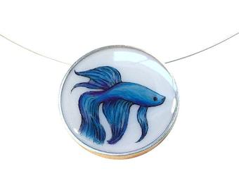 Betta Fish Large Round Necklace